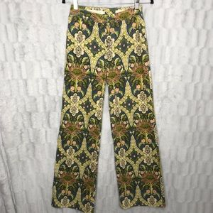 Anthropologie Floral Corduroy Hi Rise Wide Pants